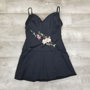 Vintage swim suit/dress with floral embroidery
